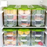 Wholesale 1個の多層長方形の食品収納ボックス透明シーフード保存ボックスセットキッチンツール