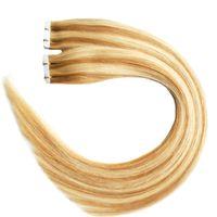 P27 / 613 100g Pleine Cuticule Sans Soudure Droite PU Trame de Trame Extensions 40pcs Bande dans les extensions de cheveux humains Vague de Corps vierge cheveux brésiliens