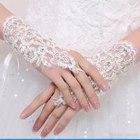 2018 laço curto apliques de dedo anel luvas nupcial luvas de casamento frisado cristais de três cores acessórios de casamento comprimento de pulso para nupcial