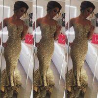 2018 Moda Dourado Lantejoulas Mermaid Vestido Sexy Mulheres Long Vestido De Festa Vintage baratos Evening Prom Vestidos