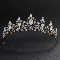 Classic Opal Stones Black Gold Tiaras and Crowns Wedding Hai...