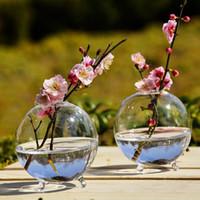 جولة الزجاج زهرية تررم المزهريات لطيف زهرة الأواني الطاولة الزجاجية الحديثة فازو الزفاف الطابق الهواء زارع مزهرية الزخرفية