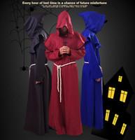 Ortaçağ Rönesans Monk Robe Cloak Cape Kostüm Halloween Kapşonlu ile Çapraz Çok renkli Friars Erkek Cosplay Kostümler Priest Robe