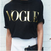 Fashion Brand T Shirt Donna VOGUE T-Shirt stampata Donna Top Tee Shirt Femme Casual Sakura 4 colori XS-4XL