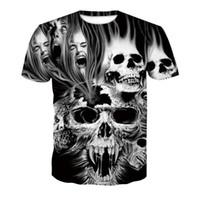 Мода повседневная Tee 3D печати черный череп смешные футболки животных топы мужские женские футболки