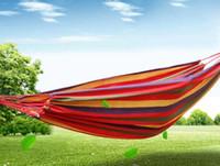 Erstaunliche tragbare 120 kg lasttragende garten hängematte hängen bett reise camping schaukel überleben outdoor schlafsäcke leinwand streifen 190 * 80cm