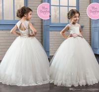 2017 Little Girls Princess Ball Gown Tulle Flower Dresses Sheer Crew Neck Lace Appliqued Corset Back Communion Toddler Kids Wear