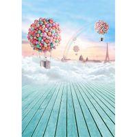 الملونة منطاد الهواء الساخن خلفية للصور الاستوديو المطبوعة برج ايفل الغيوم سميكة rainbow الطفل الاطفال التصوير خلفية أرضية الخشب