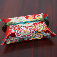 High End Chinese Dragon Phoenix Kirin Tissue Box Cover decorativas Facial guardanapo Caso Thicken Silk Brocade étnicas Covers Kleenex Box