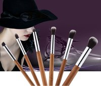 6PCS Professional Bamboo Makeup Brushes Set Eye Shadow pince...
