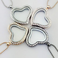 Moda Yeni Yüzen Lockets 28 MM Kalp Cam Kristal Madalyon Kolye Kolye Moda Kolye Takı Tatil Hediyeler