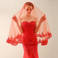 Veli da sposa vendita calda con bordo applique Novità di moda da sposa principessa Accessori eleganti veli da sposa bianchi / avorio / rosso