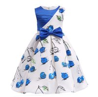Girl Dress Summer 2018 New Big Childes Vêtements enfant Fille Cerise Imprimer Dress Jupe Enfant Jupe Robe Enfant jupe Enfant
