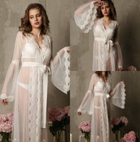 Romantic Wedding Sleep Dresses With Long Sleeves Illusion Tu...