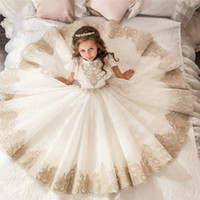 Court Retro Flower Girl Dresses Full Bud Ribbon Shawl Girl P...