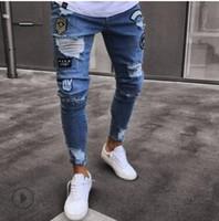 Jeans Skinny Rasgado Slim Fit Esticar Denim Afligido Desgastado Motociclista Jeans Meninos Bordados Padrões Calças Lápis jeans