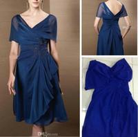 새로운 시폰 A 라인 무릎 길이의 신부 드레스의 어머니 비즈 오프 - 어깨 패션 새로운 스타일 플러스 사이즈 아플리케 여성 파티 가운