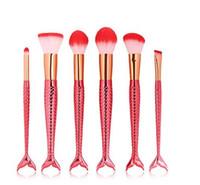 12 renkler 6 adet / takım Mermaid makyaj fırçalar Vakfı Göz Farı Fırçalar Kozmetik yüz tozu Makyaj Fırçalar Aracı pincel maquiagem ÜCRETSIZ DHL
