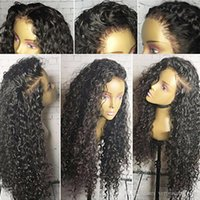 Human Hair Lace Wig Black Kinky Curly Long Wig 130% Density ...