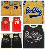Mens Biggie Smalls Jersey Notorious B.I.G. Bad garçon Jerseys de basketball noir rouge blanc # 72 chemises cousues