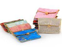 11.5x8.5 cm لطيف نسيج الحرير عملة محفظة المرأة حامل بطاقة الائتمان سستة خمر تزيين أكياس هدية الصين عقدة مجوهرات تغليف الحقيبة