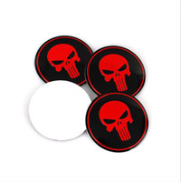 Red Skull Lega di alluminio Car Emblem Wheel Center Tappi di copertura Cap Sticker Badge Badge Emblemi Mozzi Mozzi