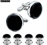 HAWSON Tuxedo Shirt Boutons de manchette Boutons Formal 3 couleurs Set de boutons de manchette en émail noir en option