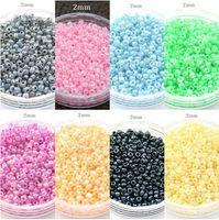 Großhandel 1500 stücke (über 25 gr / los) 2mm Tschechische Glassamen Spacer perlen Schmuck Machen DIY Pick 8 Farben F1908