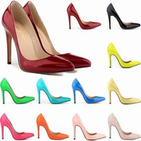 Women Sexy high heels Pointed toe Patent leather Pumps offic...