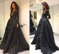 .2018 Ballkleider Mit Langarm Jewel Neck Illusion schwarz 3D Rose Floral Applique Abendkleider Plus Size Long Sleeve Vestidos De Fiesta