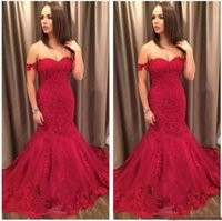Newest Red Off- The- Shoulder Mermaid Prom Dresses Lace Appliq...