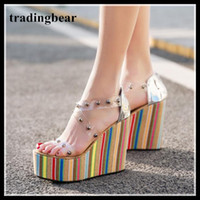 Rainbow Stripe Transparent Strap Rivets Platform Wedge High ...