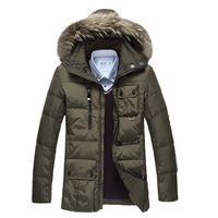 New 2016 winter duck coat men thickness jacket fur collar hoodies slim parkas casual warm snow overcoat