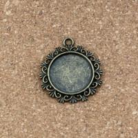 Runda fotoram Charm Hängen 50st / Massor 30x34mm Alloy Smycken DIY Fit Armband Halsband Örhängen Antik Silver / Bronze A-333