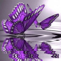 Purple Butterfly Full 5D Square drill Diamond Paint Embroide...