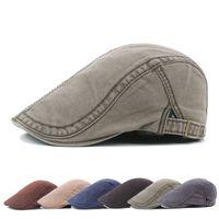 2018 invierno hombres de algodón Flat Snap sombreros viejos hombres sombrero de mezclilla pantalones de mezclilla gorras de vendedor de periódicos Ivy Gatsby Cabbie de conducción gorra de conducción