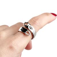 개발 인쇄 조정 가능한 하트 사랑 반지 나는 당신을 사랑할 것입니다. 여성을위한 영원히 조정 가능한 손가락 반지 가장 친한 친구 애완 동물 쥬얼리 액세서리