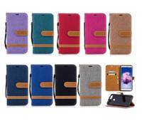 Custodia a portafoglio in pelle per jeans ibrida in tela di jeans per Huawei Y7 Prime Y5 II P8 Lite 2017 P10 Plus P20 Pro P9 Mate 9 10 20 P Smart Honor 7C 6X 7X