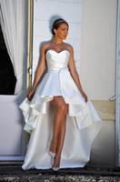 Robes de mariée courtes hautes bretelles A-ligne courtes frontales arrière arrière arrière satin réception informelle robes de mariée