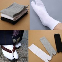 Venta al por mayor- 1 pareja Unisex Japanese Kimono Flip Floop Sandal Split Toe Tabi Geta Calcetines