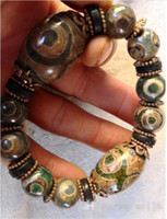 Wholesale - Tibet Three eyes Natural agate bracelet hand str...