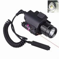 뜨거운 판매 LED 라이트 + 레드 레이저 시력 2에서 1 Airsoft 사냥 M6 크리 어 LED 토치 전술 200LM 레이저 손전등 테일 스위치