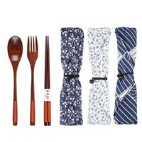 Environmental Wooden Fork Spoon Three- piece Suit Japanese Ko...