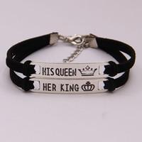 Paar ihr König sein Königin Armband Armreif Manschetten Metallgravierte Buchstaben Krone Tag Charme Modeschmuck Für Frauen Männer Drop Shipping