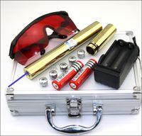 BX5 450nm 10Mile Il più potente puntatore laser regolabile con messa a fuoco in oro placcato in oro con capsula a 5 stelle 2x18650 caricatore bettero scatola in alluminio