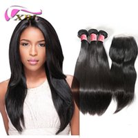 8A Lace Closure with 3 Bundles Brazilian Straight Virgin Hai...