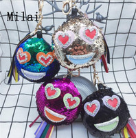 Emoji Sequin KeyChain Ring Holder Hanging Pendant Key Chain ...