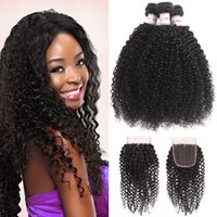 MSH 8A Malaysian Virgin Hair Kinky Curly 3 Bundles With Clos...
