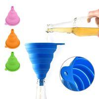 سيليكون أدوات المطبخ السائل القمع قابلة للطي متعدد الألوان للطي المحمولة النفط عسل قمع النبيذ مصغرة القمع هوبر