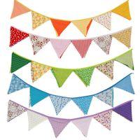 Wholedale 1 UNIDS Nuevo Banderines de Tela de Algodón Colorido Banner Bunting Banderín para el Banquete de Boda Decoración Del Hogar